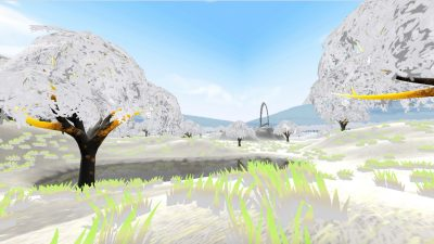 A view of the Virtual Sculpture Garden environment